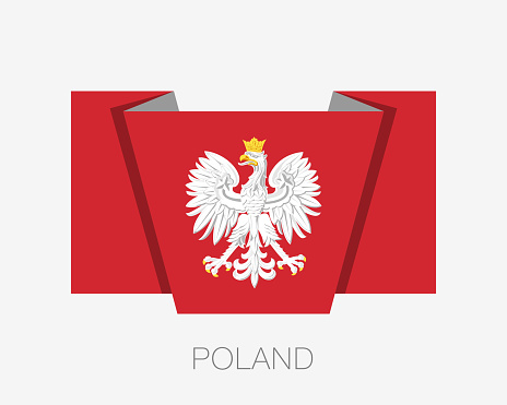 Eagle with a Crown. The National Emblem of Poland. Flat Icon Waving Flag with Country Name on a White Background