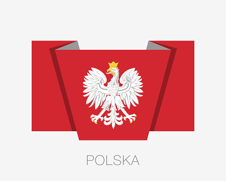 Eagle with a Crown. The National Emblem of Poland. Flat Icon Waving Flag with Country Name Written in Polish on a White Background