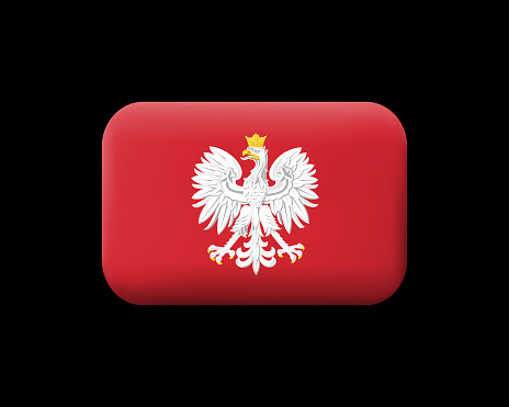 Eagle with a Crown. The National Emblem of Poland. Matted Vector Icon and Button. Rectangular Shape with Rounded Corners