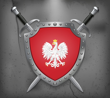 Eagle with a Crown. The National Emblem of Poland. The Shield with National Flag. Two Crossed Swords. Vector Medieval Background