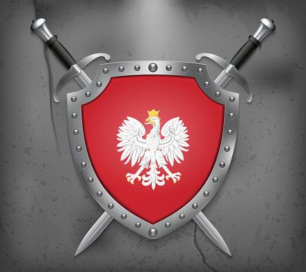 冠鷲ポーランドの国章国旗と盾2 本の交差させた剣中世のベクトルの背景 ...