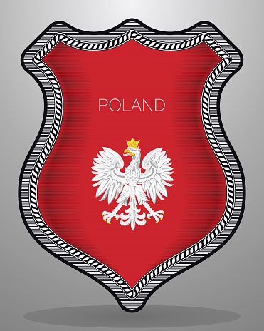Eagle with a Crown. The National Emblem of Poland. Vector Badge and Icon. Vertical Orientation Version