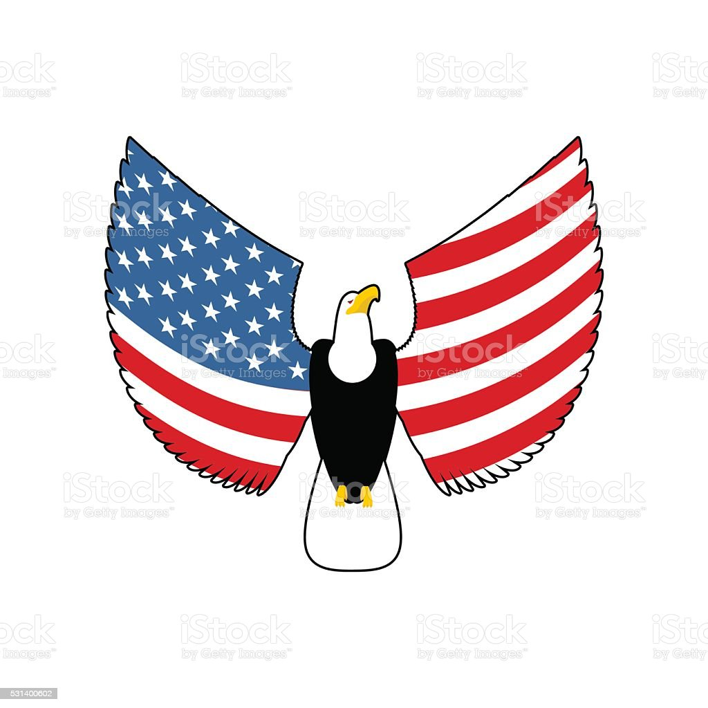 Eagle With American Flag Wings Usa National Symbol Patriotic B Stock