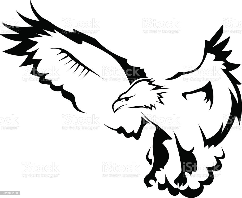 Eagle with open wings vector art illustration