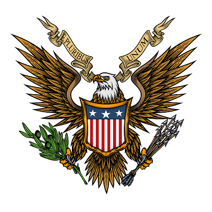 Eagle with shield and ribbon.