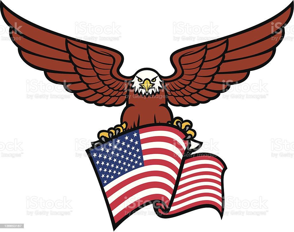 eagle with USA flag vector art illustration
