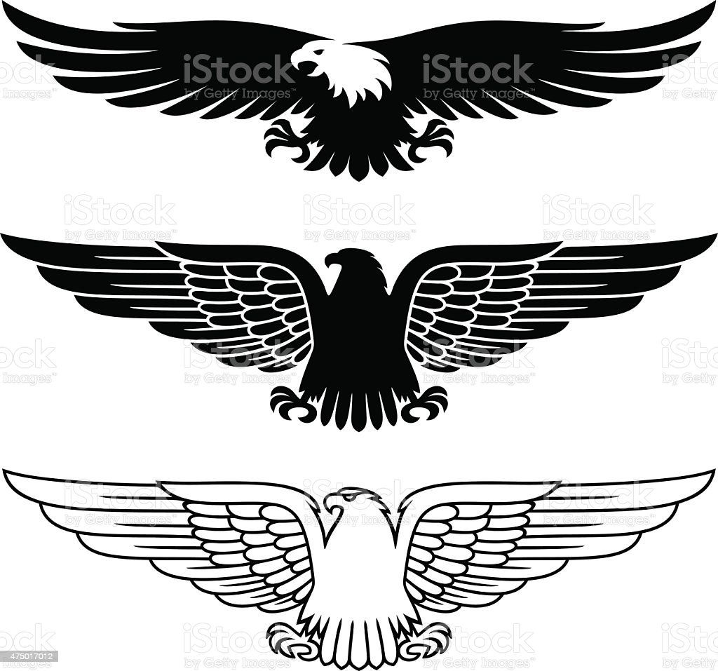 Eagles set vector art illustration
