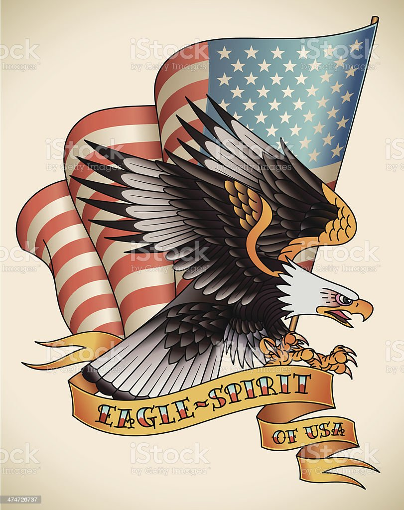 Eagle-spirit old-school tattoo vector art illustration