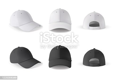 ealistic baseball cap template vector set