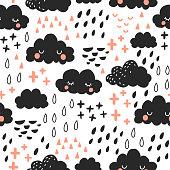 Vector illustation. Scandinavan style art for kids. Seamless pattern