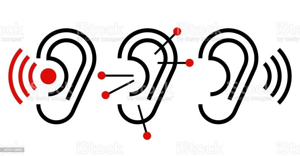 Icono de oreja, acupuntura y audífonos - ilustración de arte vectorial