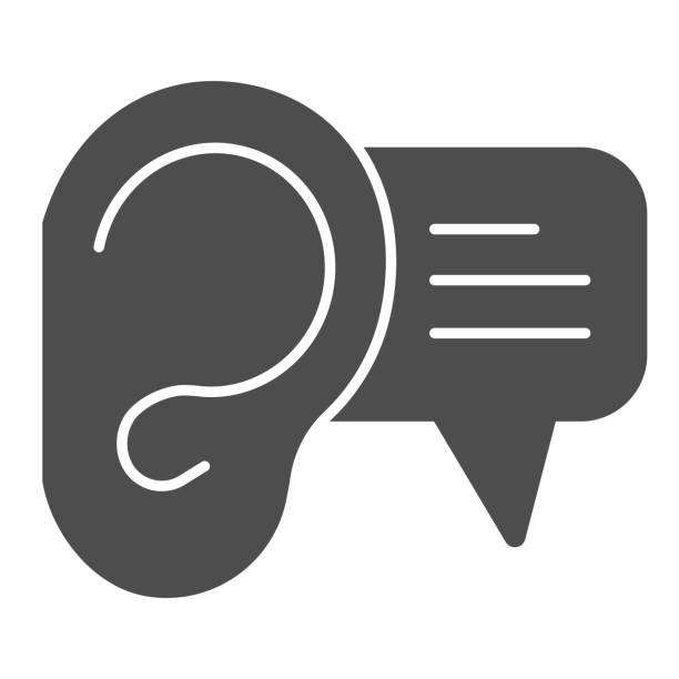 illustrazioni stock, clip art, cartoni animati e icone di tendenza di icona solida dell'orecchio e del dialogo. ascolto dell'orecchio con simbolo bolla di testo, pittogramma in stile glifo su sfondo bianco. cartello pubblicitario audio per il concetto mobile e il web design. grafica vettoriale. - ear talking