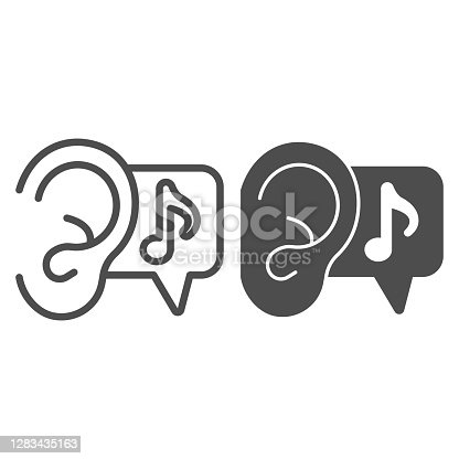 istock Ear and note line and solid icon, Sound design concept, listening to music sign on white background, Ear and Music Sound icon in outline style for mobile concept and web design. Vector graphics. 1283435163