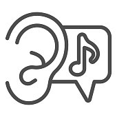 Ear and note line icon, Sound design concept, listening to music sign on white background, Ear and Music Sound icon in outline style for mobile concept and web design. Vector graphics