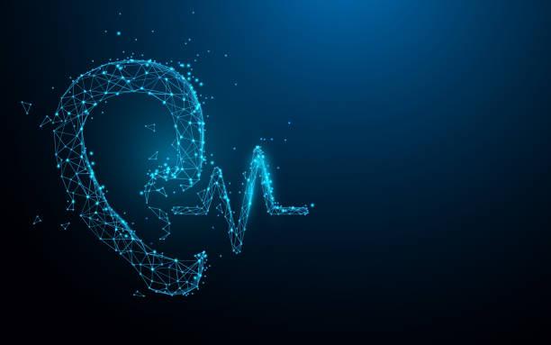 illustrazioni stock, clip art, cartoni animati e icone di tendenza di ear and sound from lines, triangles and particle style design. illustration vector - sordità