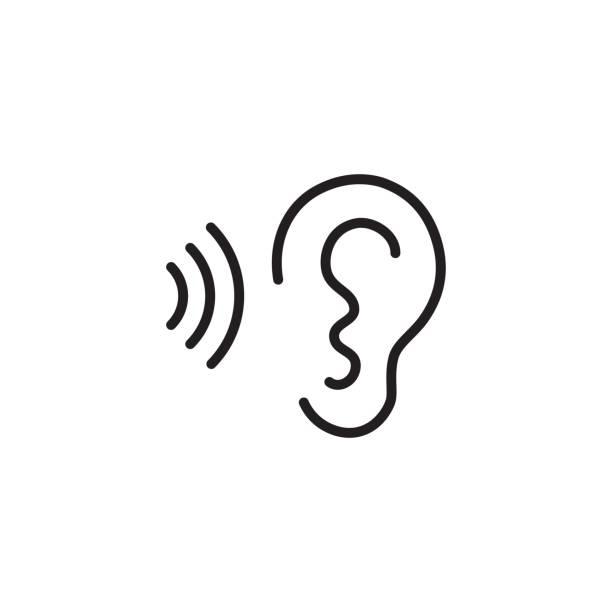 bildbanksillustrationer, clip art samt tecknat material och ikoner med örat och ljud våg svart ikon - listen