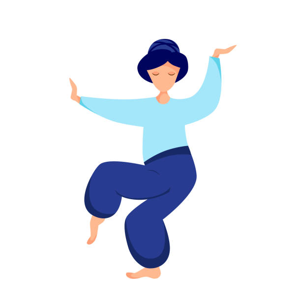 tai chi Vector illustration of a girl performs Tai Chi exercises qigong stock illustrations