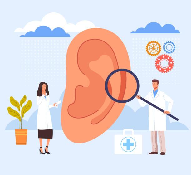 Ear examination ill searching in doctor office. Vector graphic design illustration vector art illustration