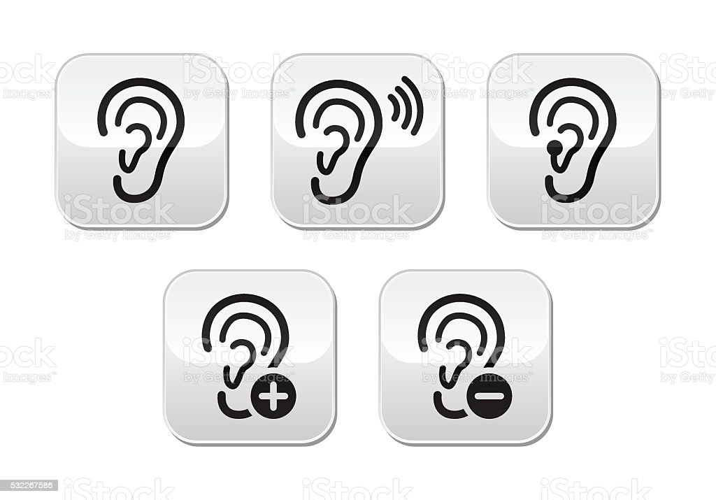 Ear hearing aid deaf problem buttons set vector art illustration