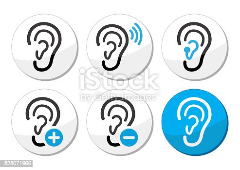 Ear Hearing Aid Deaf Problem Icons Set Stockvectorkunst En Meer