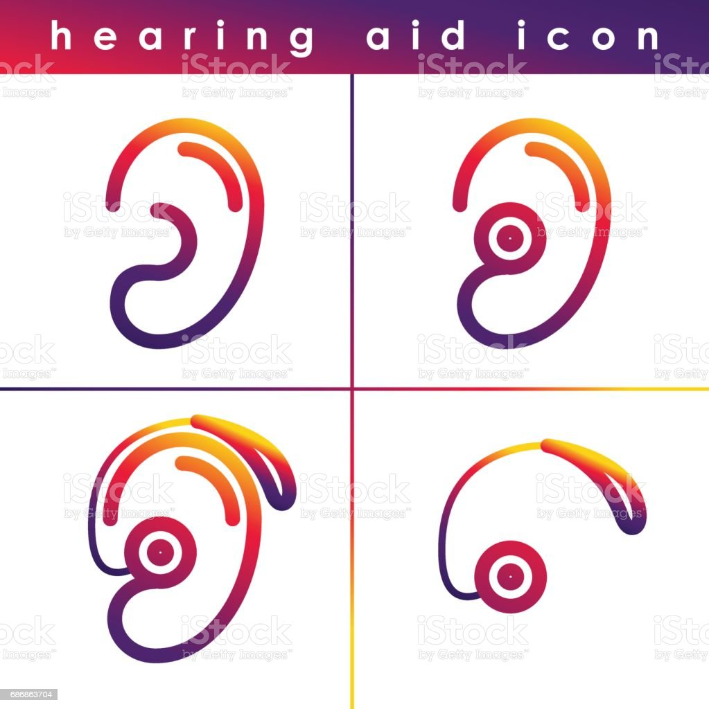 Ear Hearing Aid Deaf Problem Icons Set Vector Symbol Isolated On