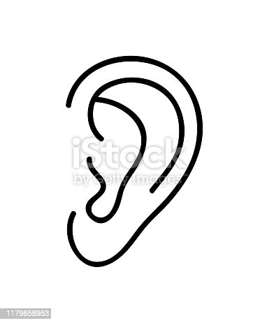 Ear icon. Continuous line art drawing. Vector illustration. Black and white hand drawn line art style