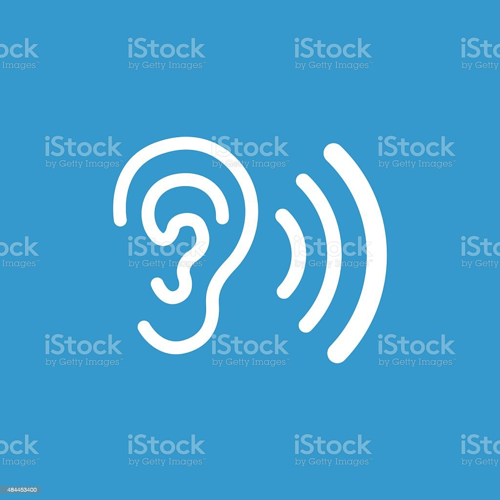 ear icon, isolated, white on the blue background vector art illustration