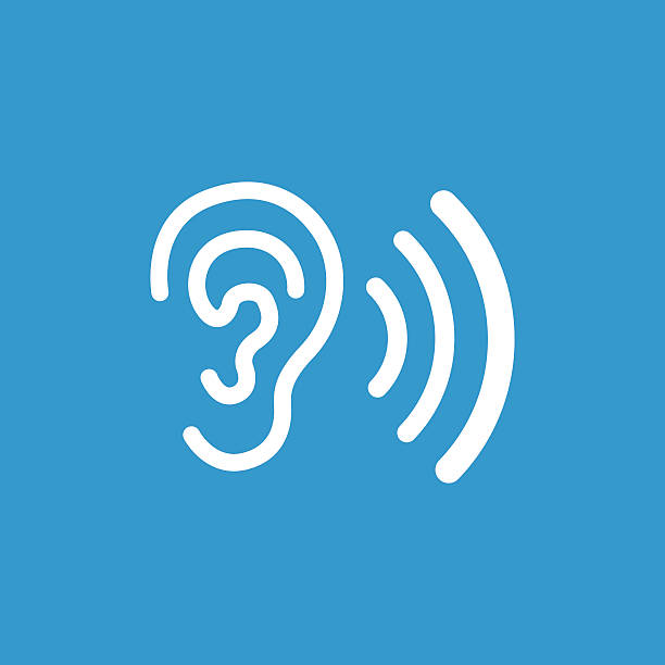 stockillustraties, clipart, cartoons en iconen met ear icon, isolated, white on the blue background - ear