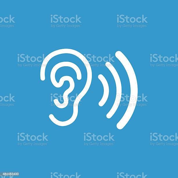 Ear Icon Isolated White On The Blue Background Stockvectorkunst en meer beelden van 2015