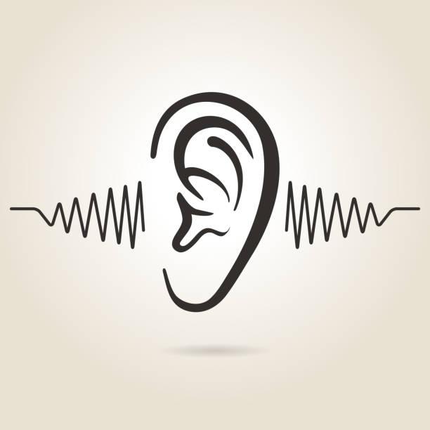 ilustrações, clipart, desenhos animados e ícones de ícone de orelhas - escutando