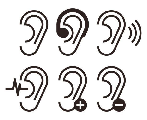耳朵圖示。聽力問題圖示設定 - hearing aid 幅插畫檔、美工圖案、卡通及圖標