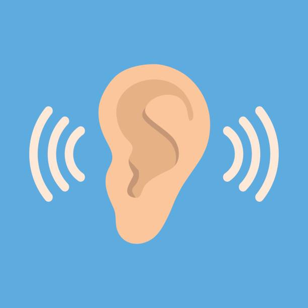Ear listen vector icon on blue background. Ear vector icon. Listening vector icon. Ear icon in flat style isolated on blue background. Part of body symbol stock vector illustration. Listen, hearing, sound icon listening stock illustrations
