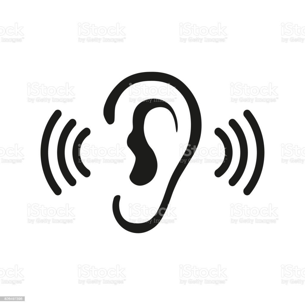 Ear Listening Hearing Audio Sound Waves vector icon vector art illustration