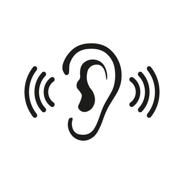 Ear Listening Hearing Audio Sound Waves vector icon Ear listen vector icon on white background. Ear vector icon. Listening vector icon. listening stock illustrations