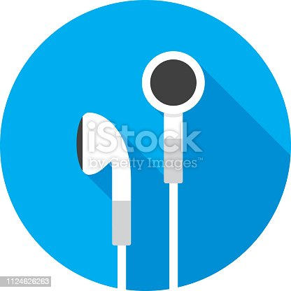 Vector illustration of earbuds against a blue background in flat style.