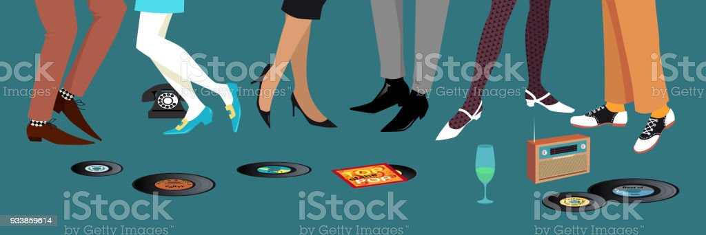 Early 1960s party vector art illustration
