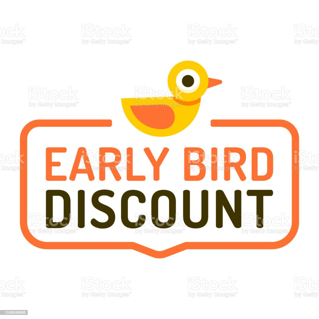 Early Bird Discount Vector Illustration On White Background
