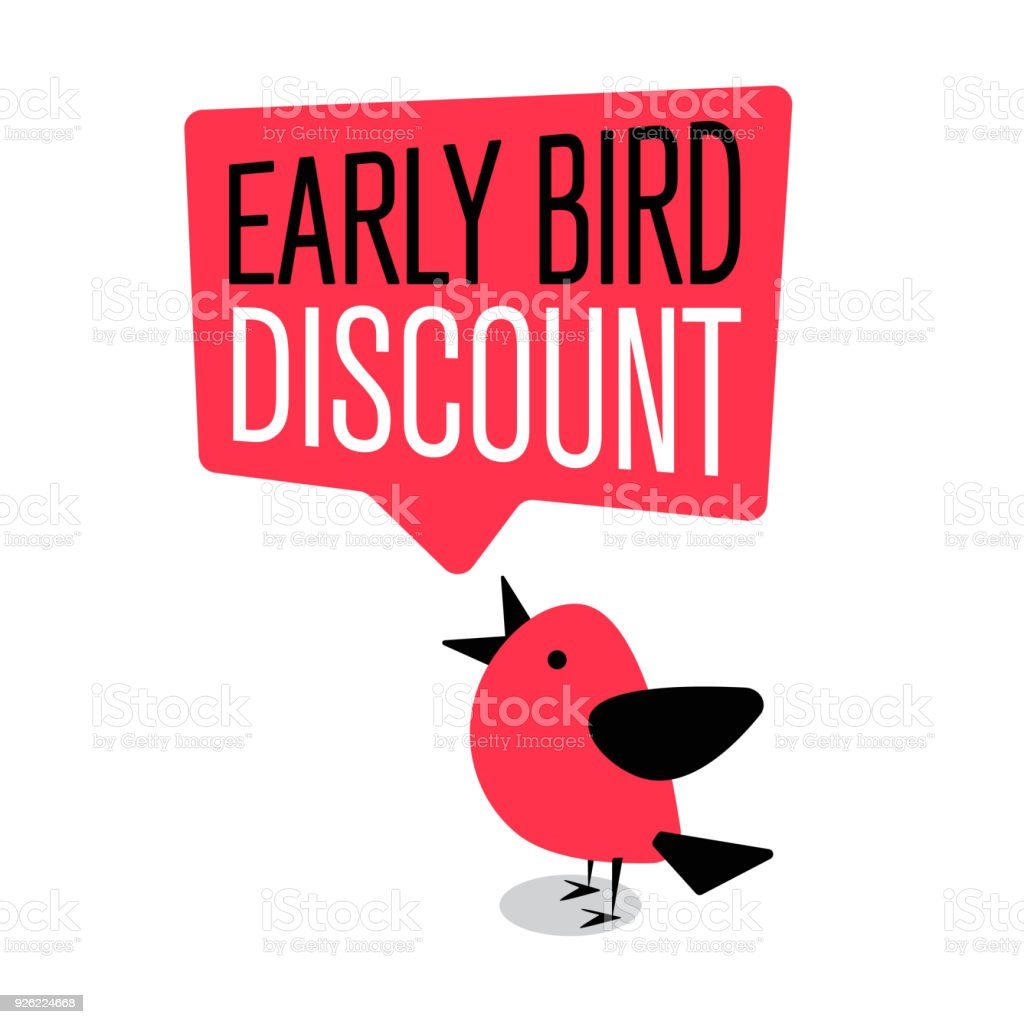 Early Bird Special discount sale event banner or poster - Векторная графика The early bird catches the worm - английское выражение роялти-фри