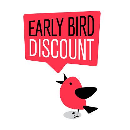 Early Bird Special Discount Sale Event Banner Or Poster — стоковая векторная графика и другие изображения на тему The early bird catches the worm - английское выражение