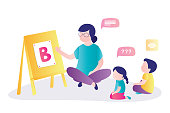 istock Early childhood education courses. Preschool games, woman teacher and group of preschoolers learning. 1251837433