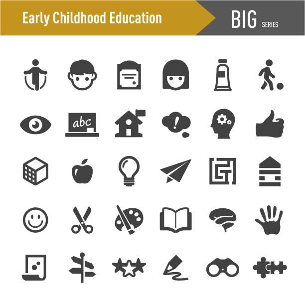 stockillustraties, clipart, cartoons en iconen met vroege jeugd onderwijs iconen-grote series - peuterschool