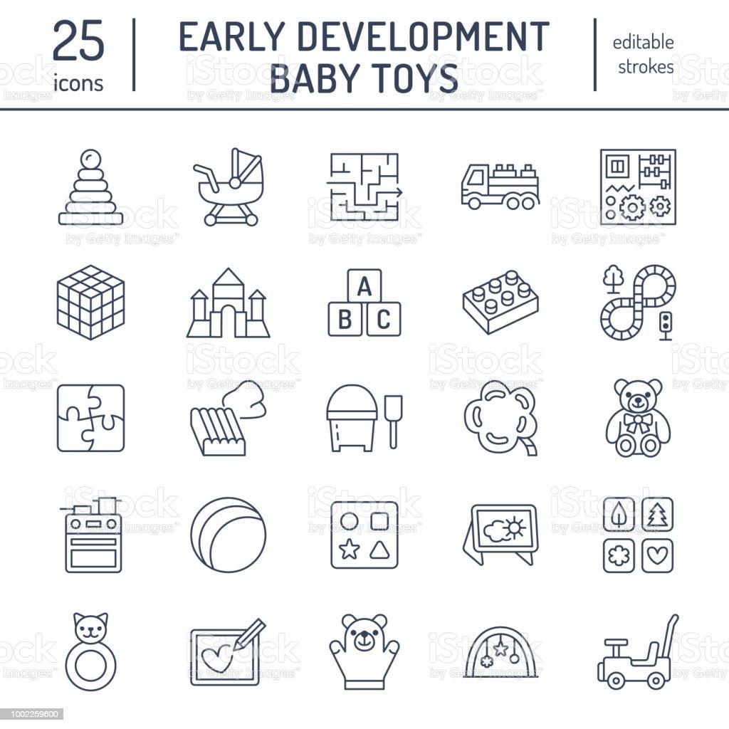 Ilustracion De Primeros Juguetes Del Bebe Desarrollo Plano Los