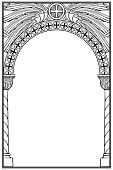 Early medieval Byzantine style round arch. Decorative motiff of Seraphim or cherubim wings on. Vertical orientation. Black linear drawing isolated on white background. EPS10 vector illustration