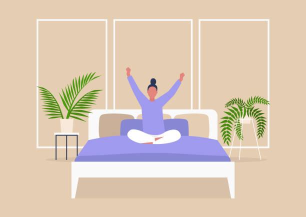 bildbanksillustrationer, clip art samt tecknat material och ikoner med tidig morgon, ung kvinnlig karaktär sträcker sig i sängen, tusenåriga livsstil, sovrum interiör - morgon