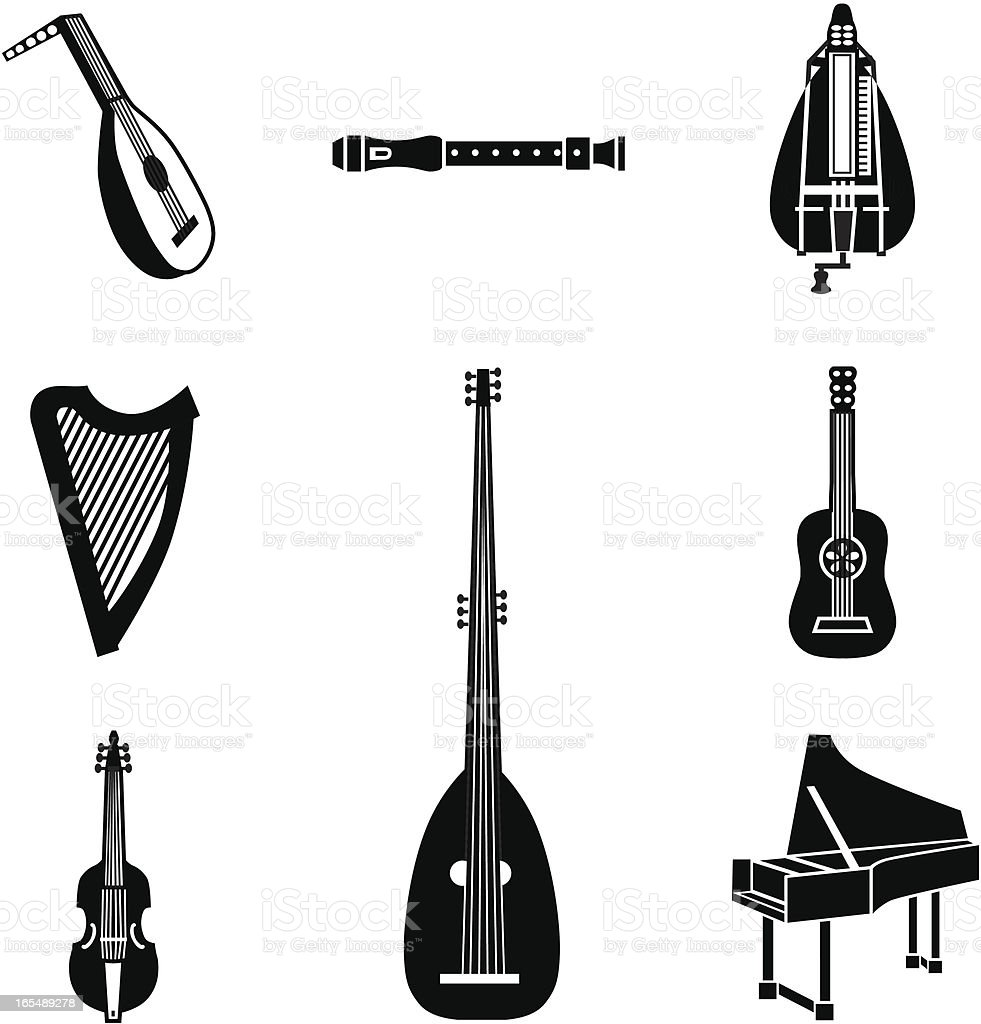 early music instruments royalty-free stock vector art