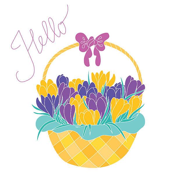 stockillustraties, clipart, cartoons en iconen met early spring crocus flowers in a basket - fresh start yellow