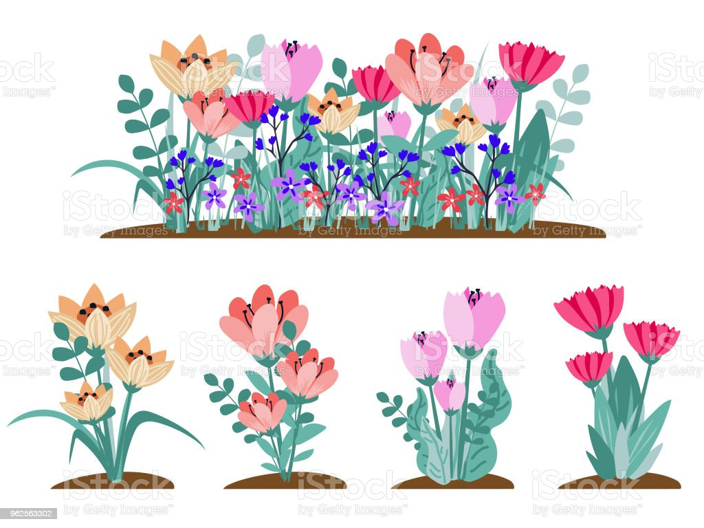 Early Spring Forest And Garden Flowers Isolated On White Vector Set