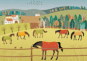 Vector illustration of grazing horses in rainy weather.