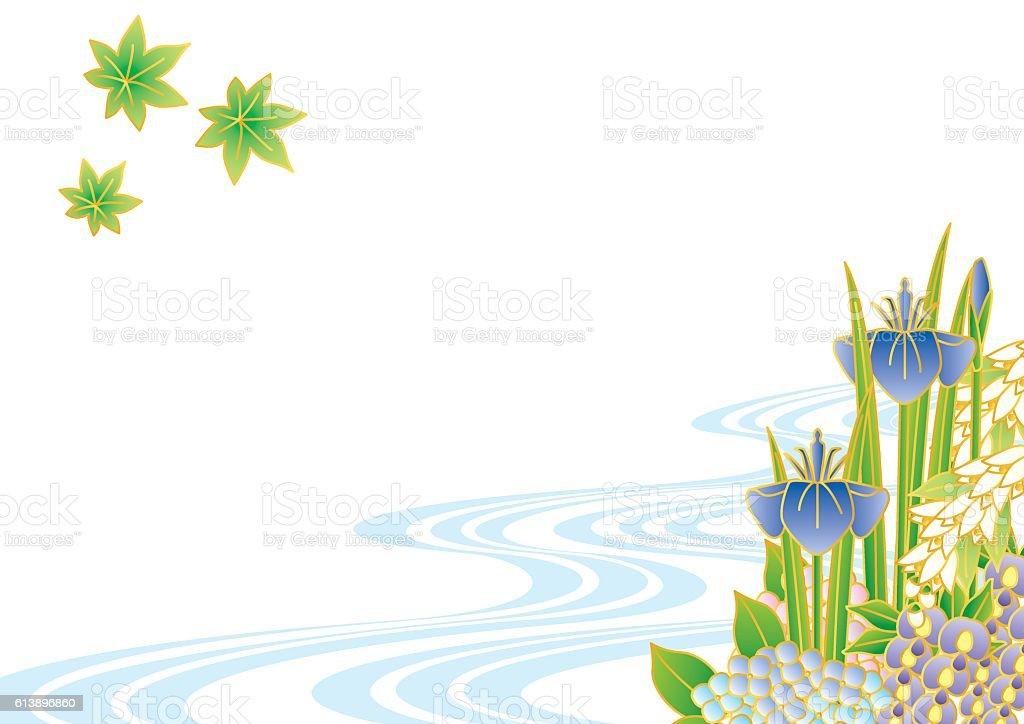 Early summer flowers. Japanese landscape. vector art illustration