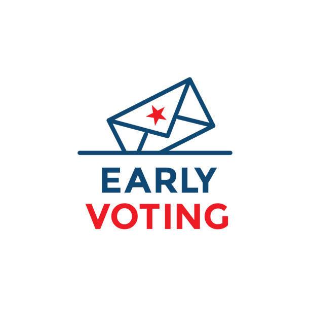 early voting icon with vote, icon, and patriotic symbolism and colors - ballot stock illustrations